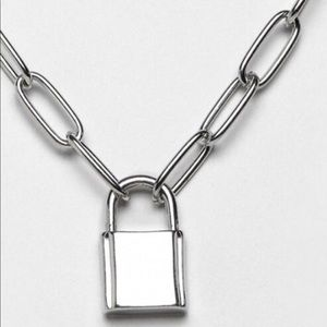 NWOT padlock necklace in silver color